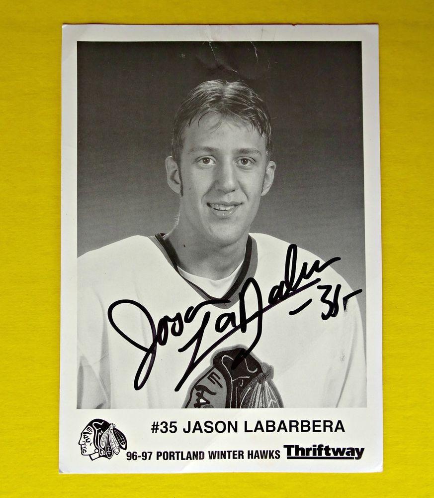 1996-97 Jason LaBarbera Autograph Signed Photo Portland WinterHawks NHL WHL #PortlandWinterHawks