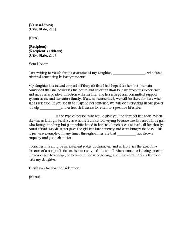 letter of recommendation to the court samples - Yahoo Image