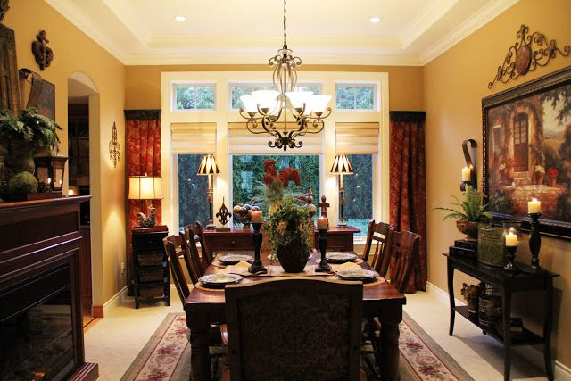 Yellow themed dining room Tuscan Theme Dining Room! Pinterest Room
