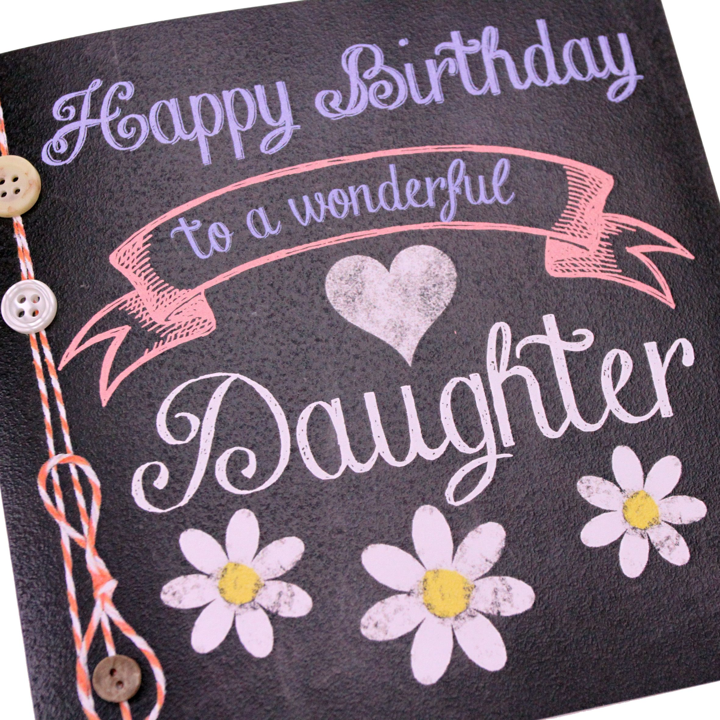 Handmade Chalk Effect Birthday Card Chalkboard Banner Flowers Daughter