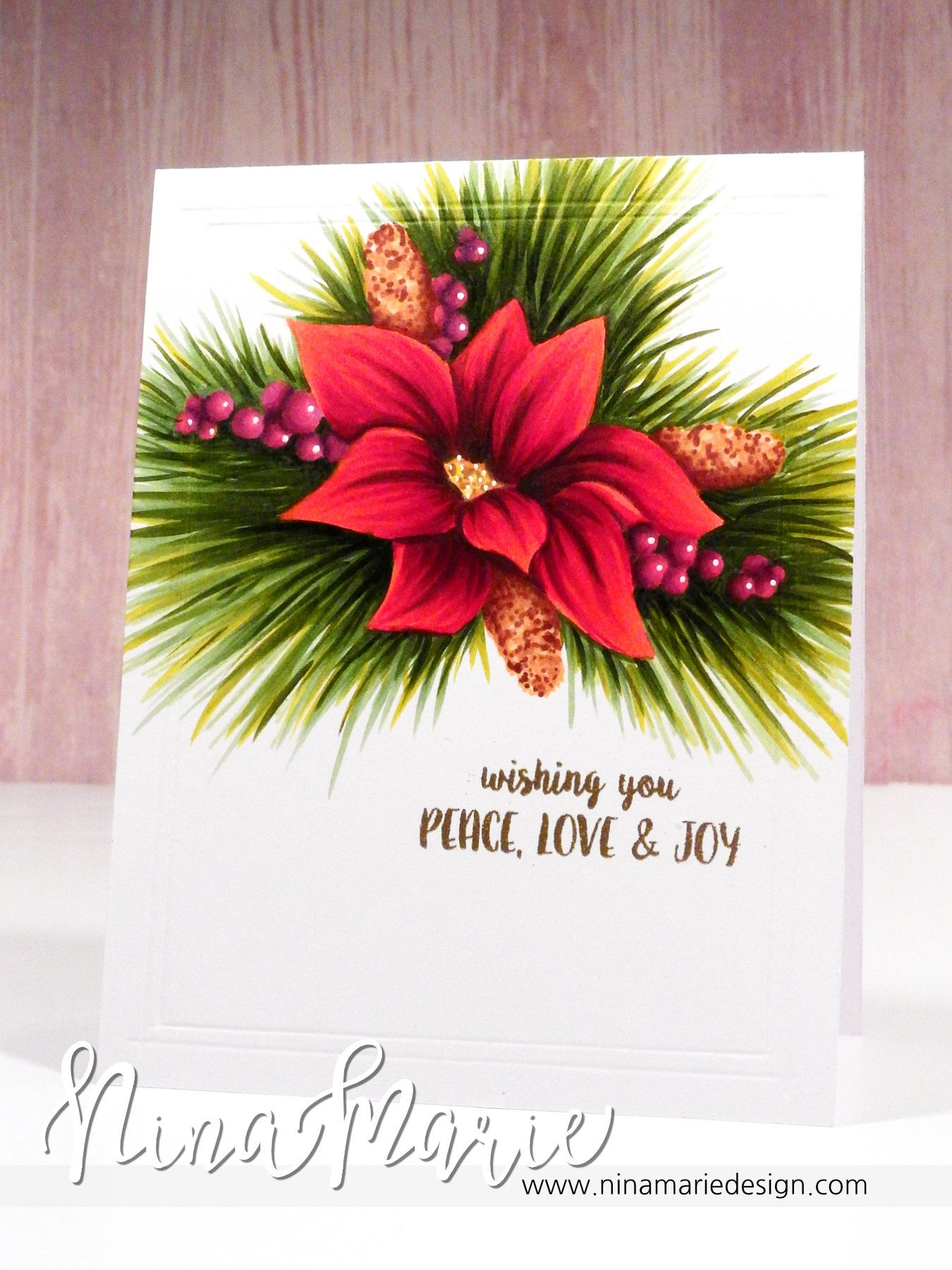 No Line Copic Coloring - Poinsettia Cluster Christmas Card by Nina Marie Design.