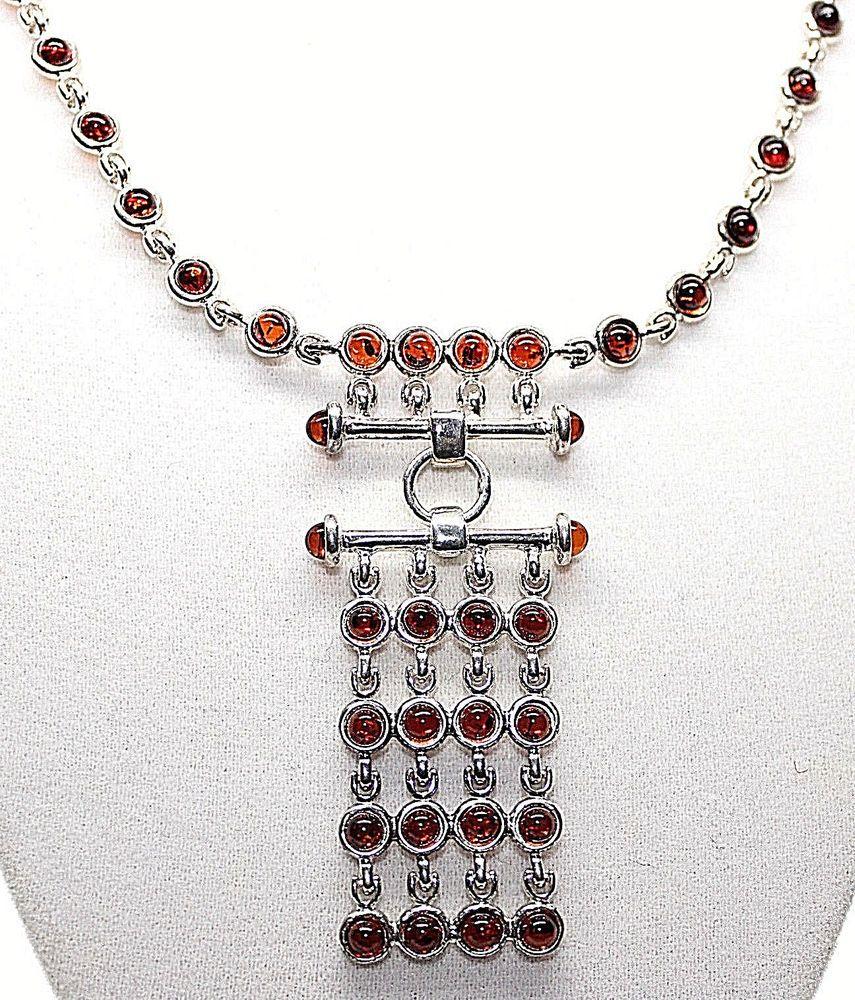 Details about amber deep orange color cabochon bezel set pendant