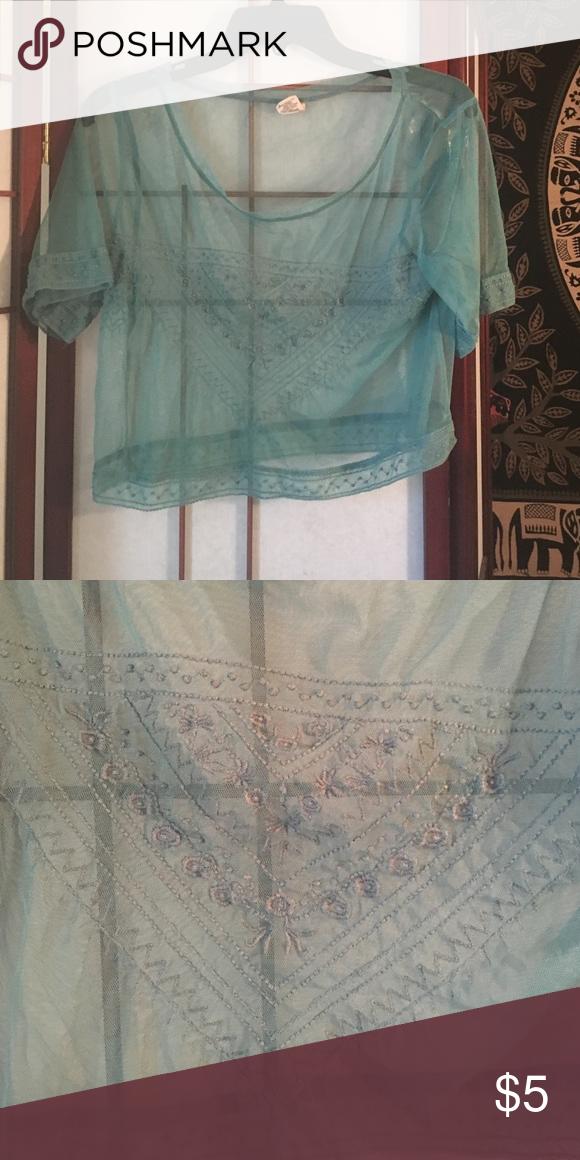 Bohemian style teal blue crop top Boho see through harem style teal crop top Tops Crop Tops