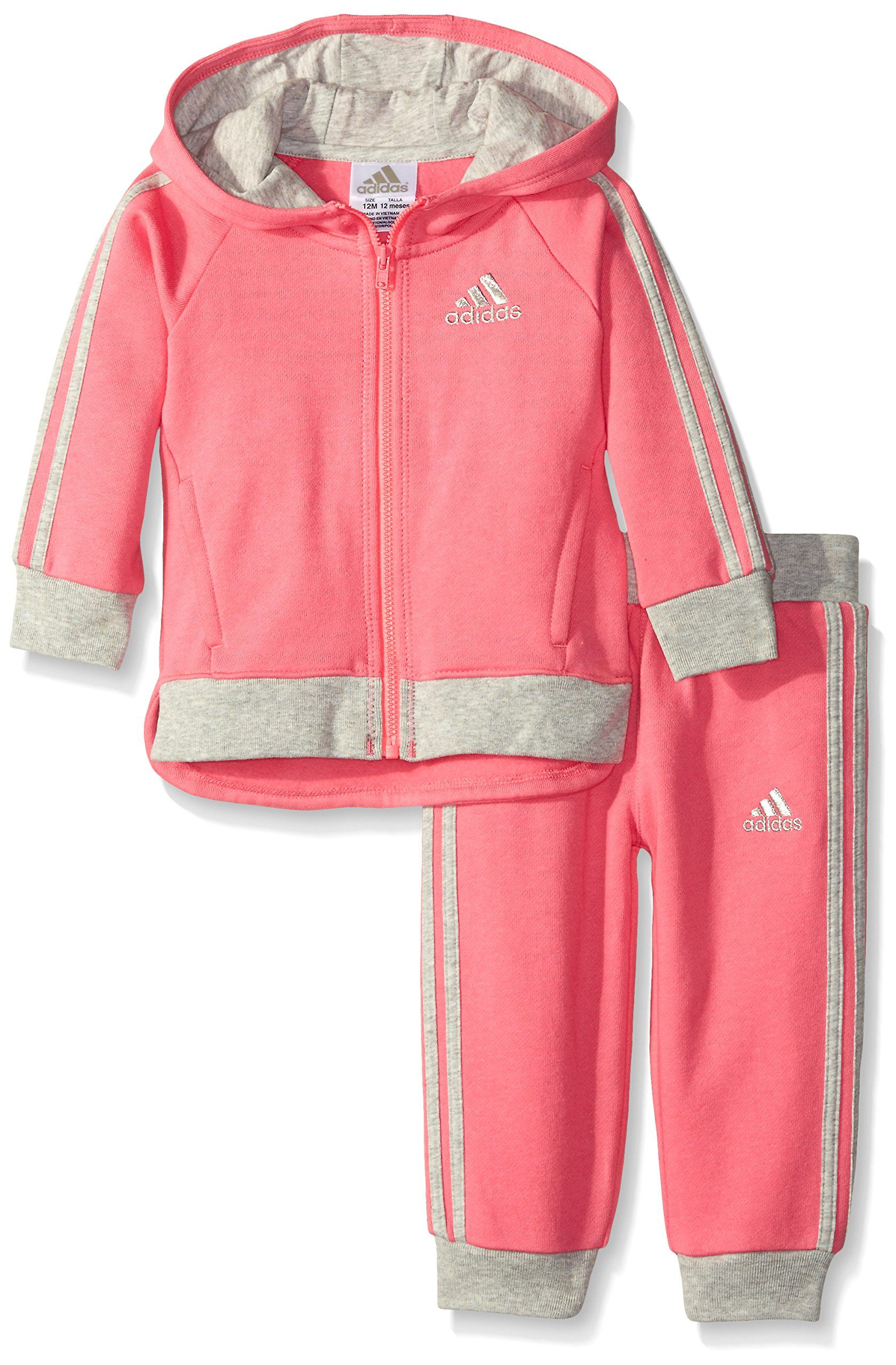 Adidas Baby-Girls Fast Fleece Set, Solar Pink, 24 Months