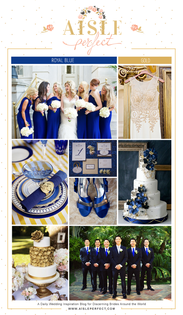 Royal Blue And Gold Wedding Inspiration Board Aisle Perfect