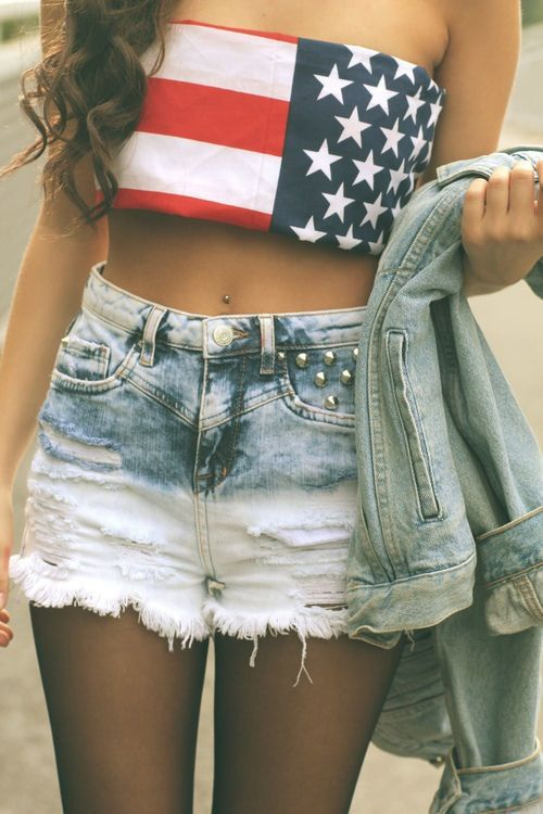 b8f286df40c1df Fourth of July style for Mary. high wasted shorts and cropped american flag  top
