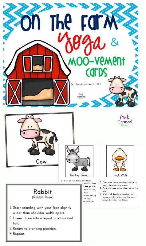 farm themed yoga and moo vement cards pink oatmeal products farm animals preschool farm. Black Bedroom Furniture Sets. Home Design Ideas