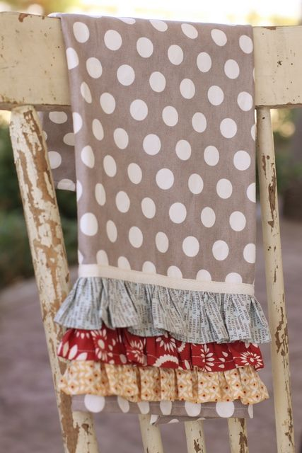 Love the ruffles on this towel and Moda fabric-blanket, pillowcases, just like the triple ruffles