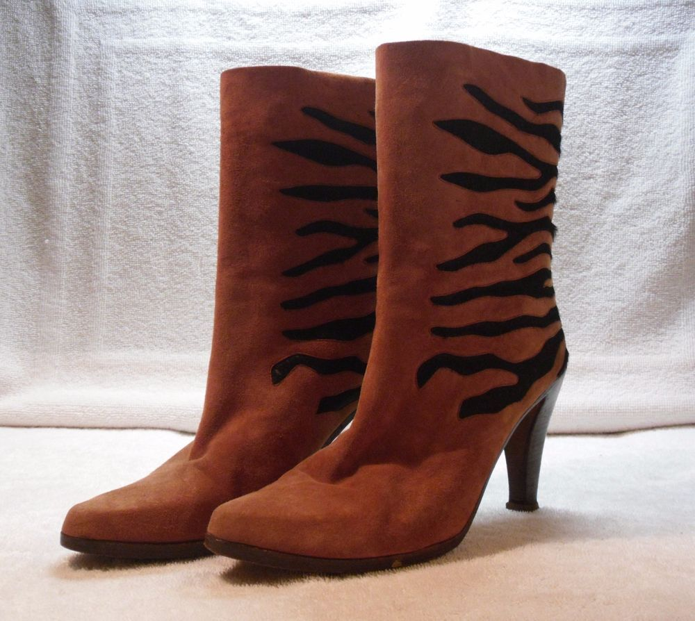 VTG 80's/ANDREA PFISTER/Tiger/Animal/Hide/Tobacco Suede/Italy Size 8.5/Boho/Glam #AndreaPfister #Boots