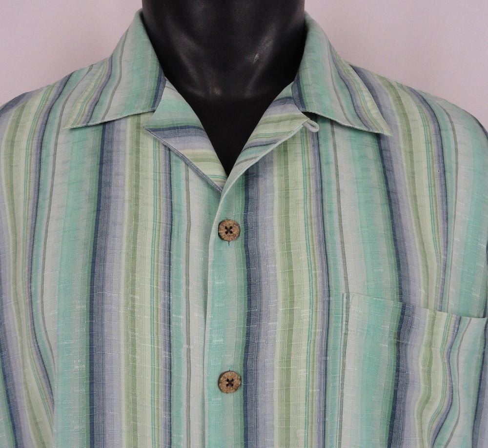 20e3d2d75 TOMMY BAHAMA Silk Camp Shirt Aloha Hawaiian Green Stripe Button Up Men's  Large #TommyBahama #ButtonFront