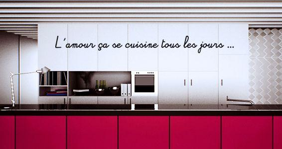 Sticker citation amour et cuisine citations que j 39 adore for Stickers cuisine phrase