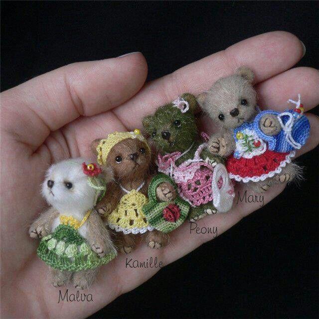 4 cute teddy with crocheted dress