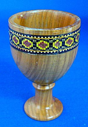 Antique Treen Tonbridge Ware Egg Cup Inlaid Red Accents