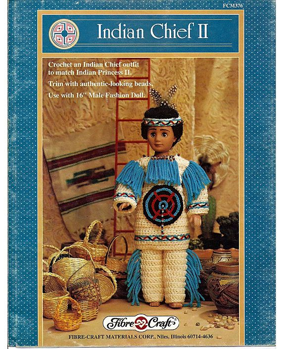 Indian Chief II Crochet Indian Doll Pattern Fibre Craft FCM376 #airfreshnerdolls