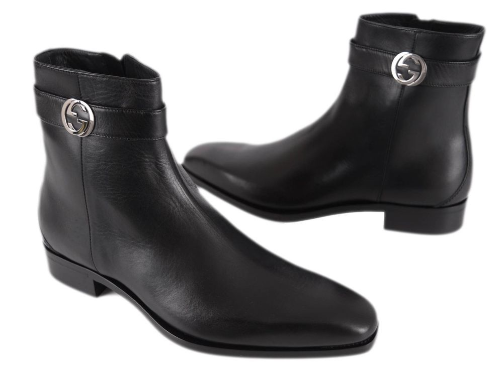 New Gucci Men S 114415 Black Leather Interlocking Gg Ankle Boots Shoes 6 G 7 U S Gucci Ankleboots Boots Shoe Boots Ankle Boots
