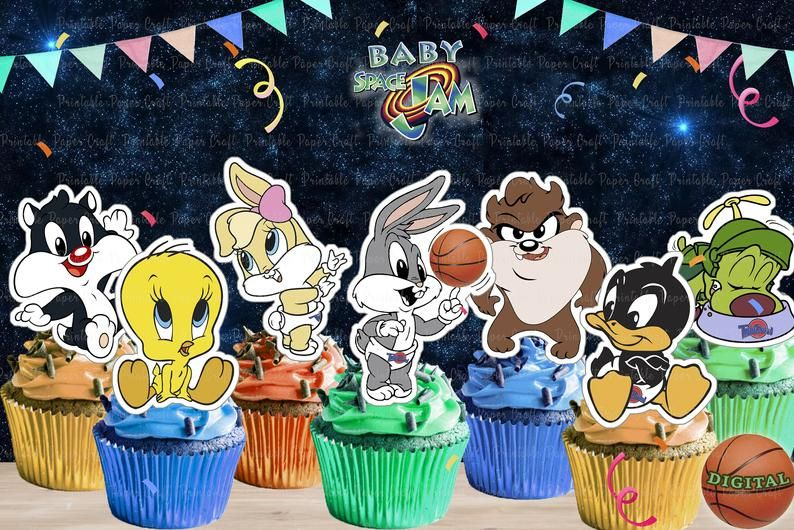 Baby Space Jam Cupcake Toppers Space Jam Birthday Baby Space Etsy Scooby Doo Birthday Party Cupcake Toppers Printable Party Decorations