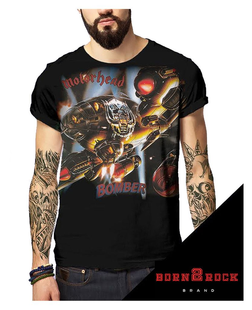 Black sabbath t shirt avengers - Born2rock Bomber Motorhead Mens T Shirt Wrap Around Design
