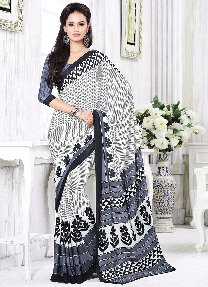 Flavorous Off White Crepe Saree