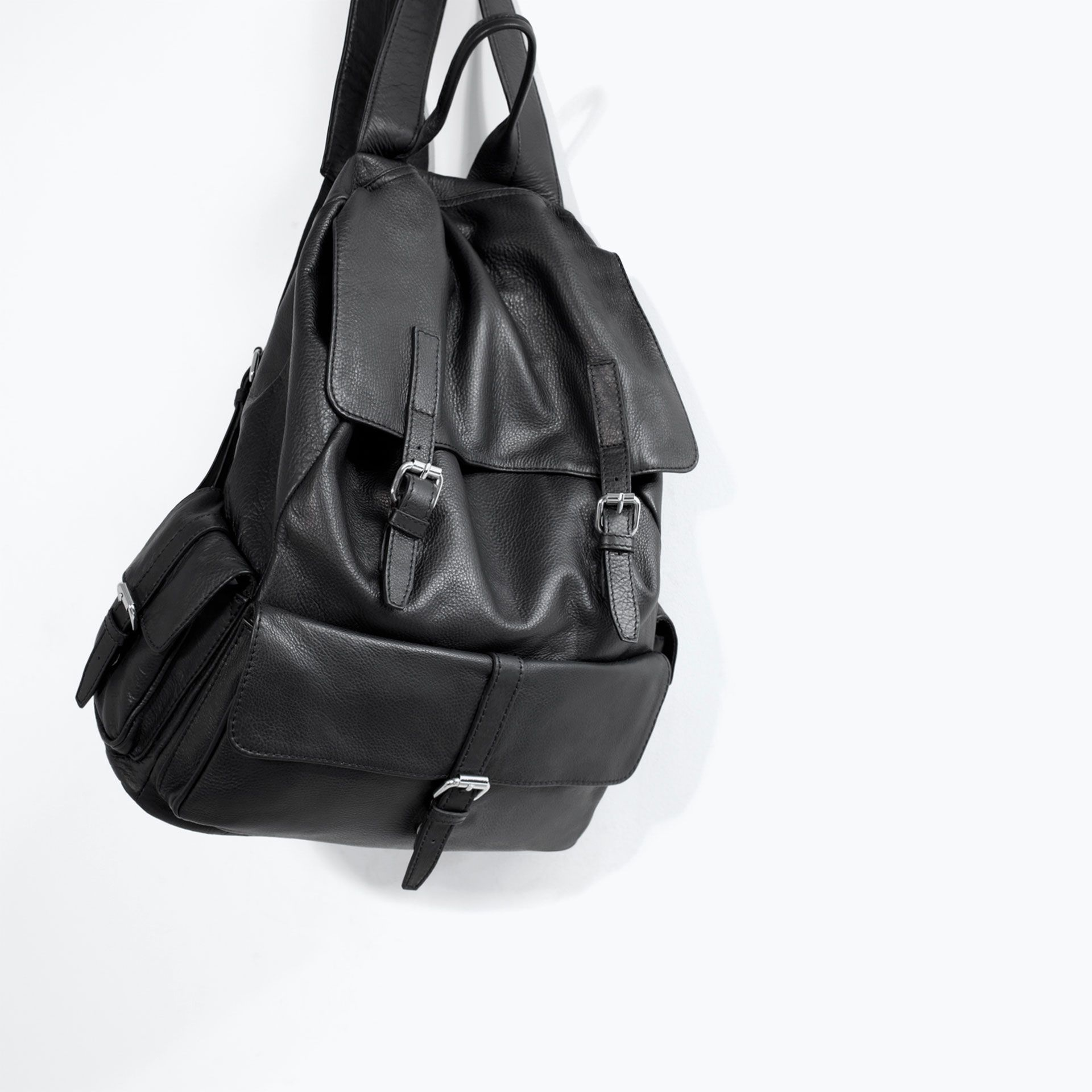 Black Leather Backpack Zara Fairway Golf And Print Double Strap Bag