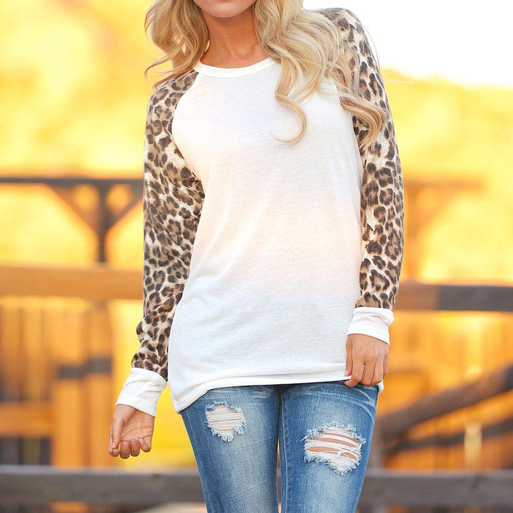 New fashion women casual tshirt chiffon long leopard sleeve round