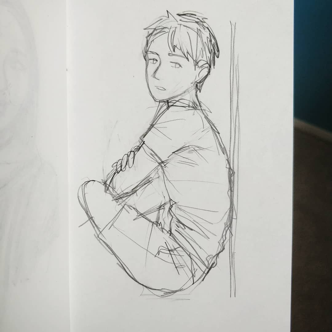 Lonely images of boys for photoshop design pencil sketch