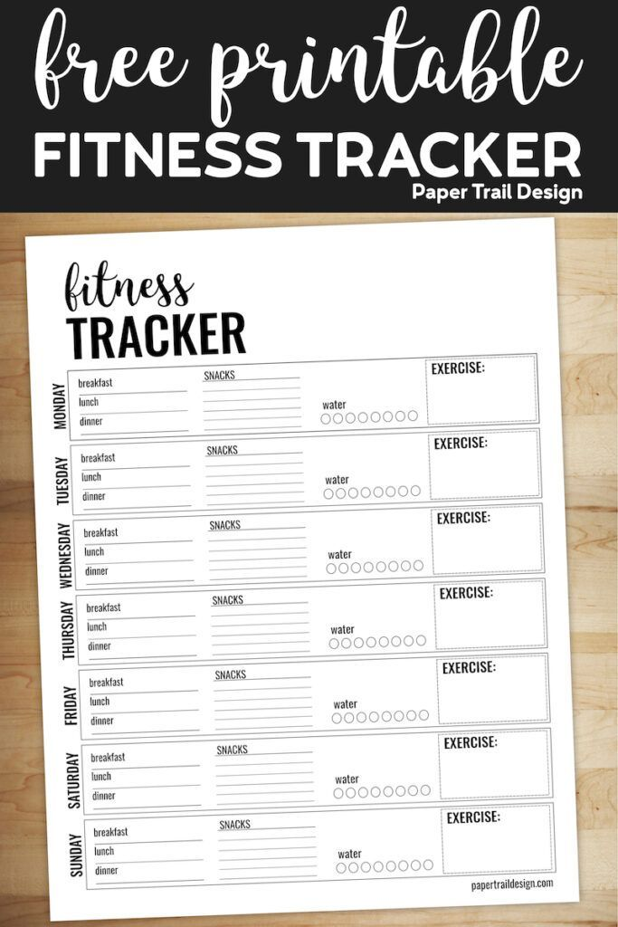 Printable health and fitness planner page to track your daily meals and food intake, water consumpti...