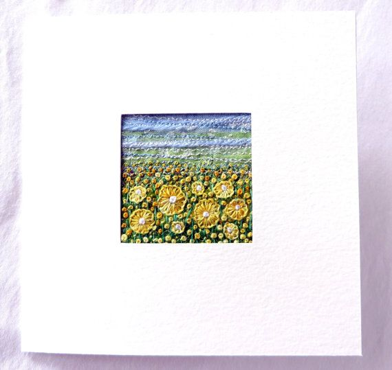 Embroidered yellow flowers fabric art card by StitchMikki on Etsy