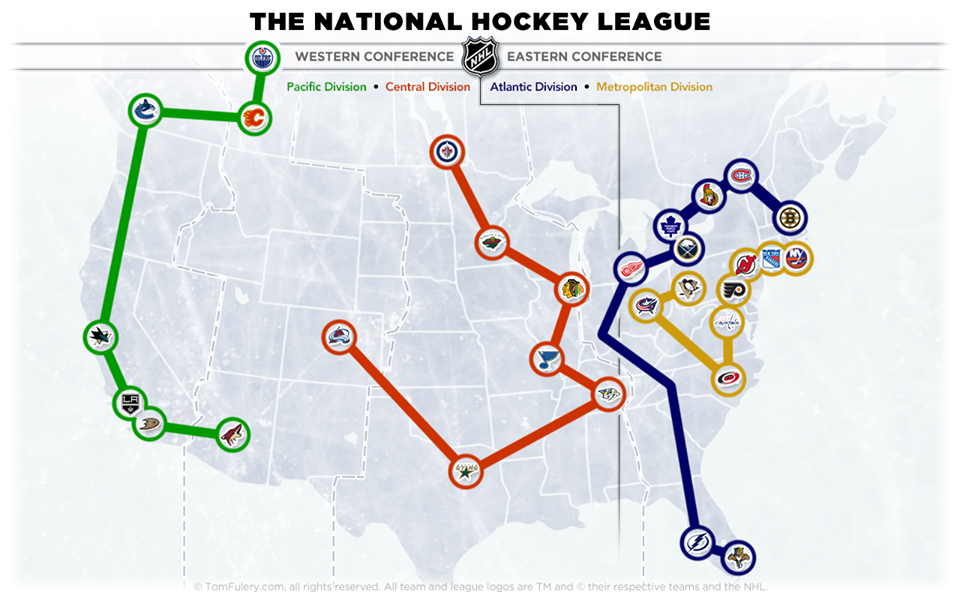 Nhl Conference Realignment Map National Hockey League Hockey Nhl