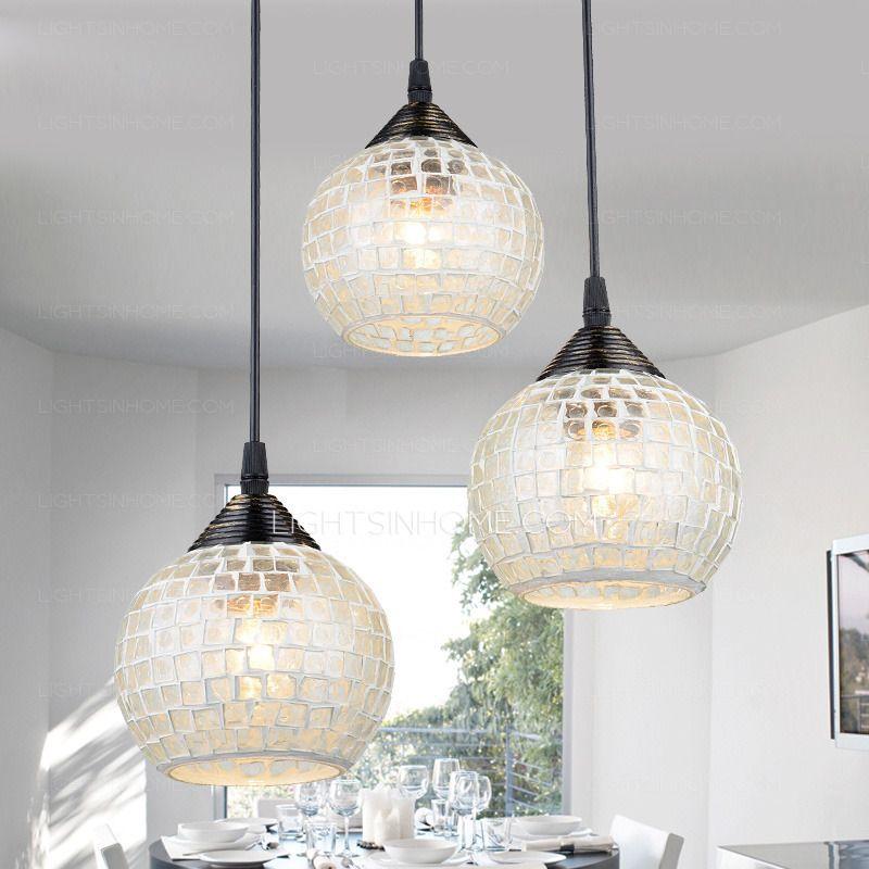 3 Light Round Glass Shade Multi Pendant Light For Living Room