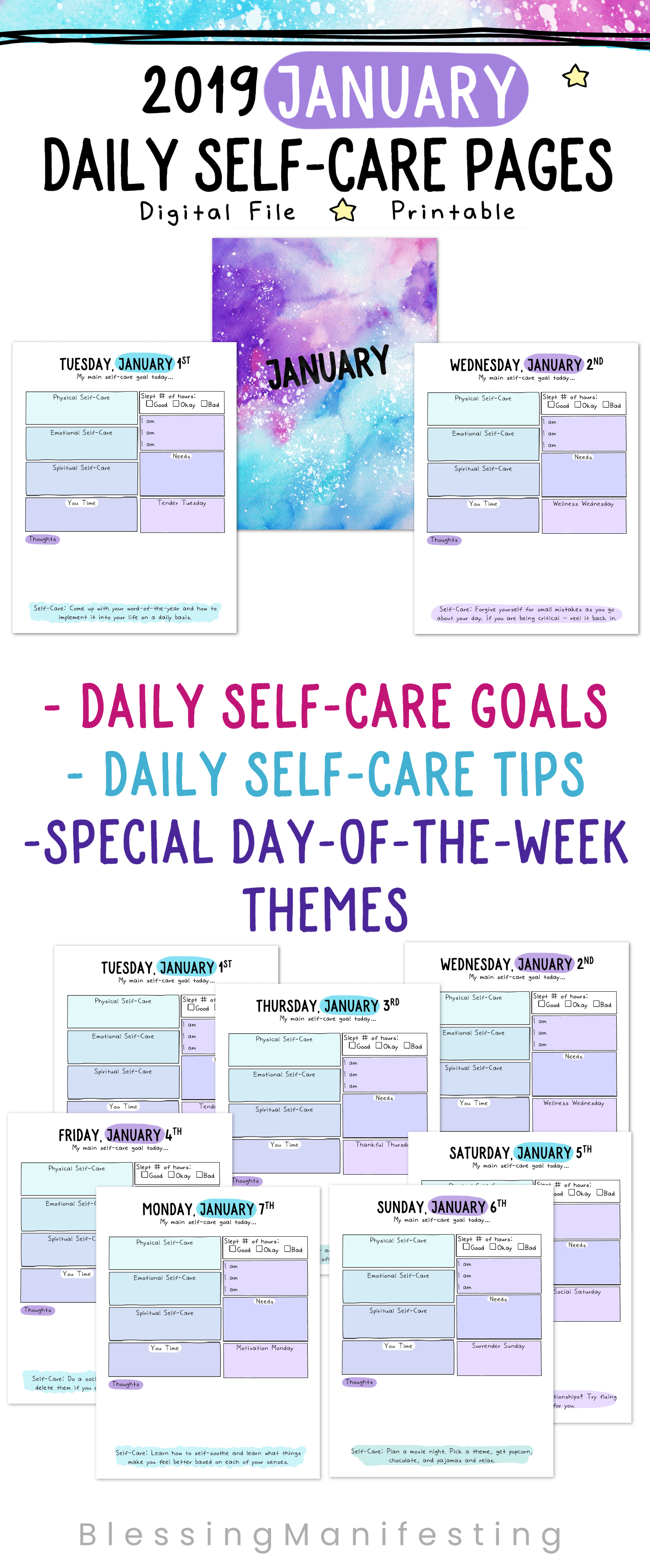 Daily Self Care Worksheets