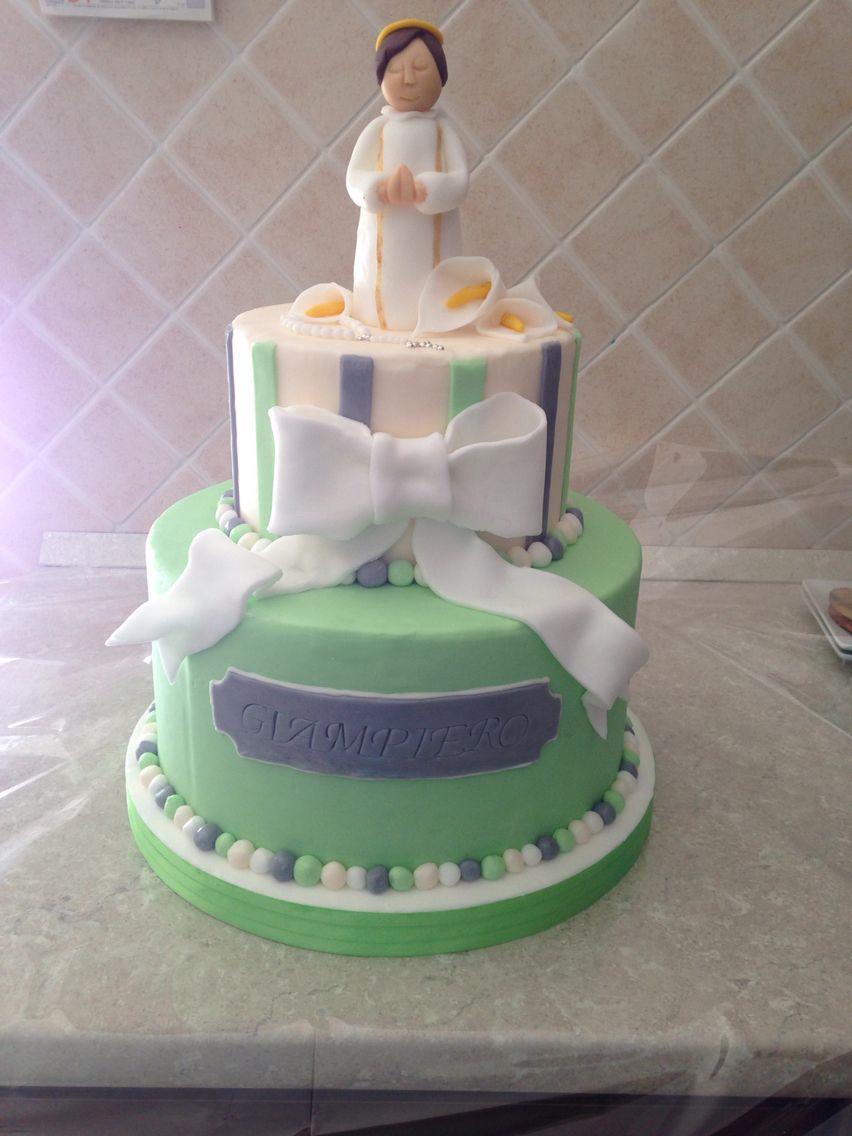 Top Torta prima comunione, verde argento, saio, calle | torte | Pinterest LN23
