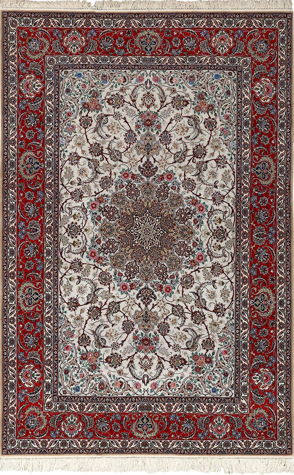 Ivory Background Vintage Isfahan Persian Rug 51161