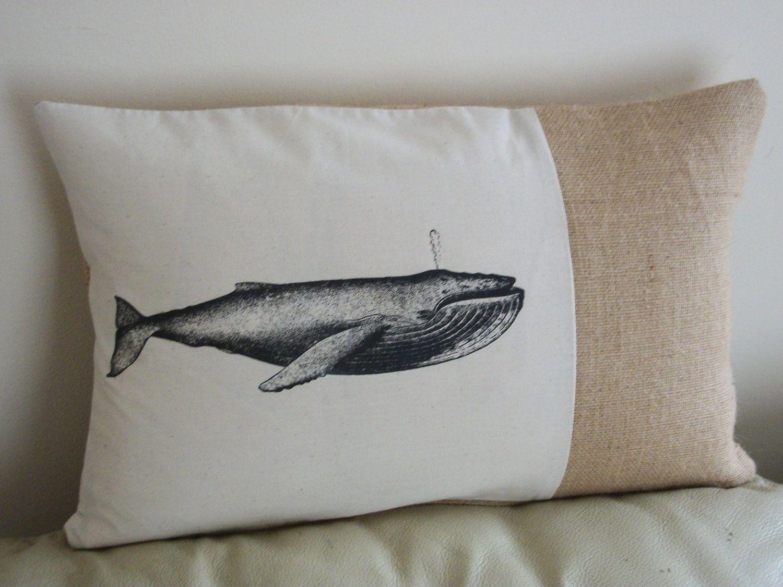 "Whale Vintage Style Rustic Hessian Cushion Burlap Pillow 16"" x 16 ..."