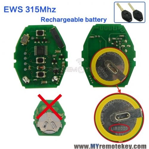 Remote Key Rechargeable Battery Circuit Board 315mhz 3 Button For Bmw Ews System Car Key Rechargeable Batteries Bmw Bmw Key