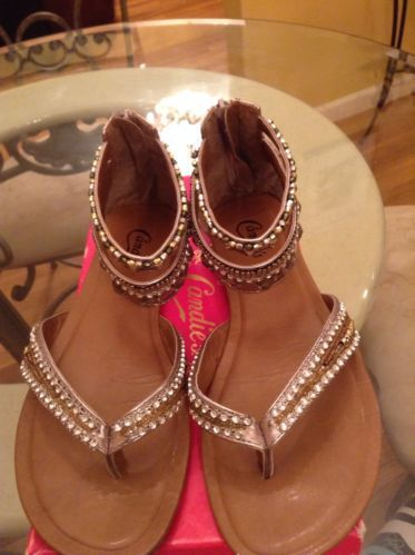 Candie's Mocean Thong Jeweled Sandals (Pewter, Size 10)