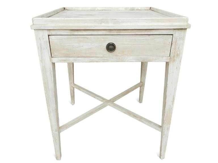 Whitewashed Side Table English Country Home Vintage Side Table