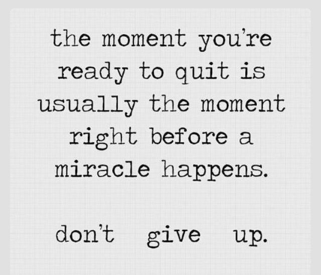 Quotes and sayings : don't give up : miracle