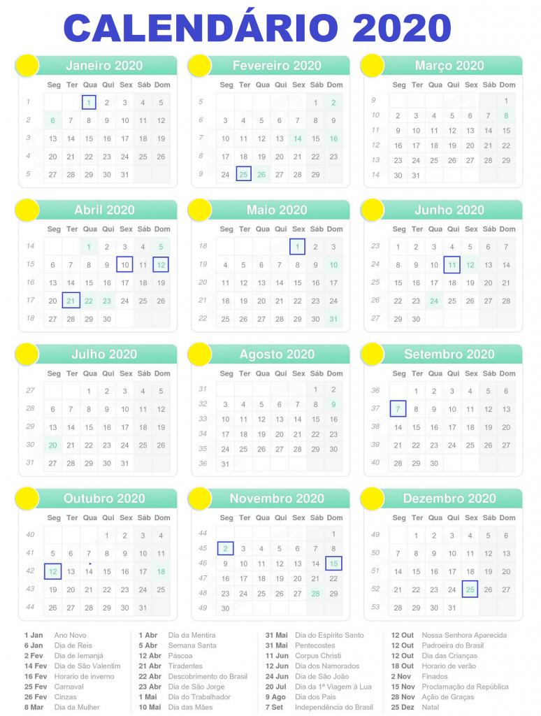 Calendario 2020 Com Feriados Para Impressao.Calendario 2020 Feriados Para Imprimir Calendario 2020 Com