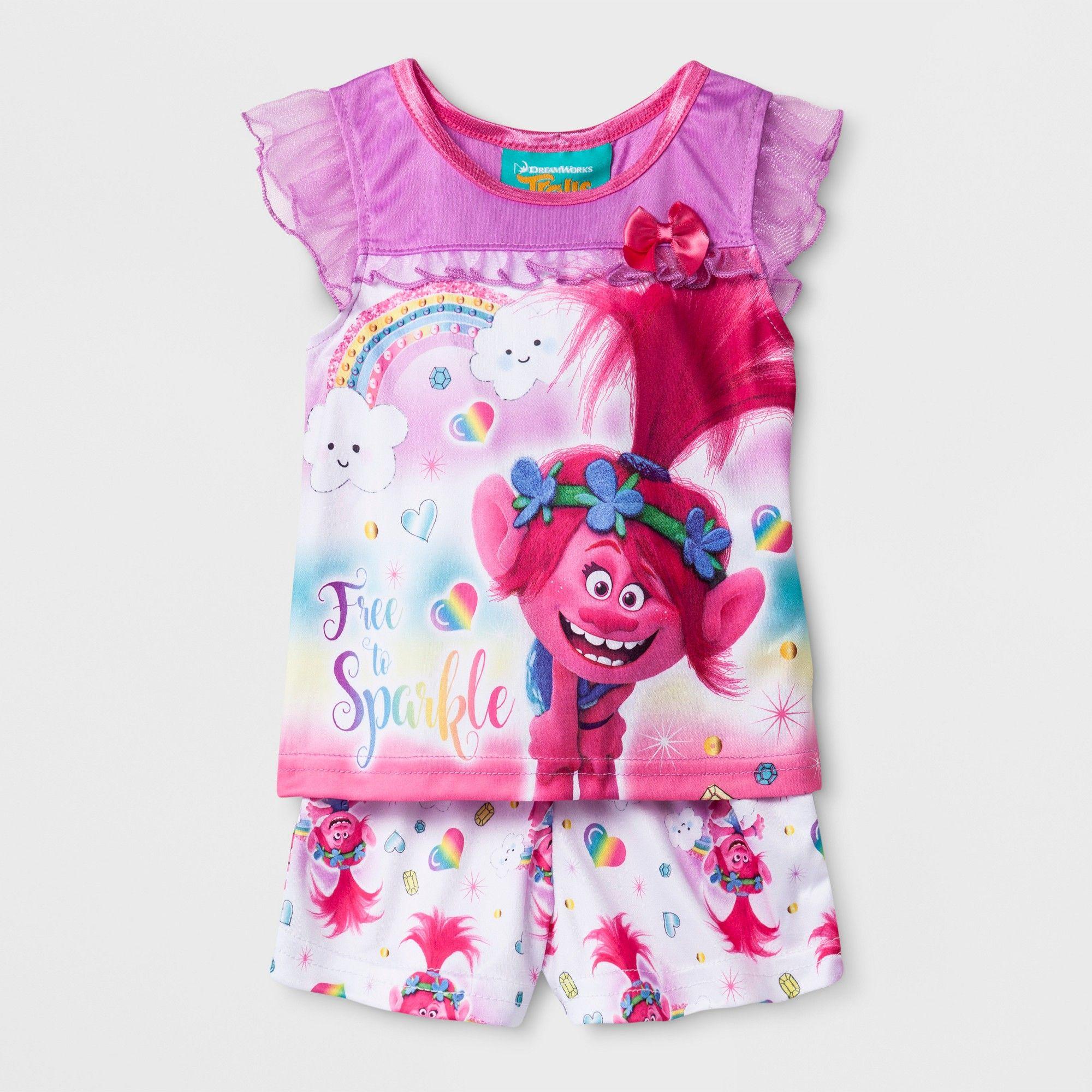 89ec6eeed Baby Girls' Trolls 2pc Poly Pajama Set - Purple/White 12M, Multicolored