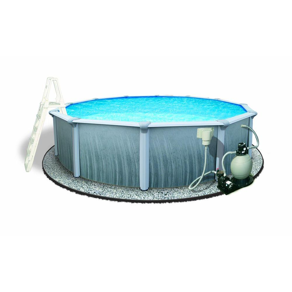 Blue Wave Martinique 24 Ft Round X 52 In Deep Metal Wall Above Ground Pool Package With 7 In Top Rail Nb3115 The Home Depot Best Above Ground Pool In Ground