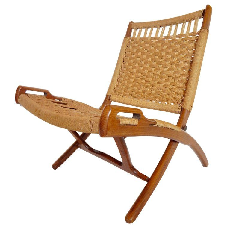 Mid Century Hans Wegner Style Woven Folding Chair With Handles