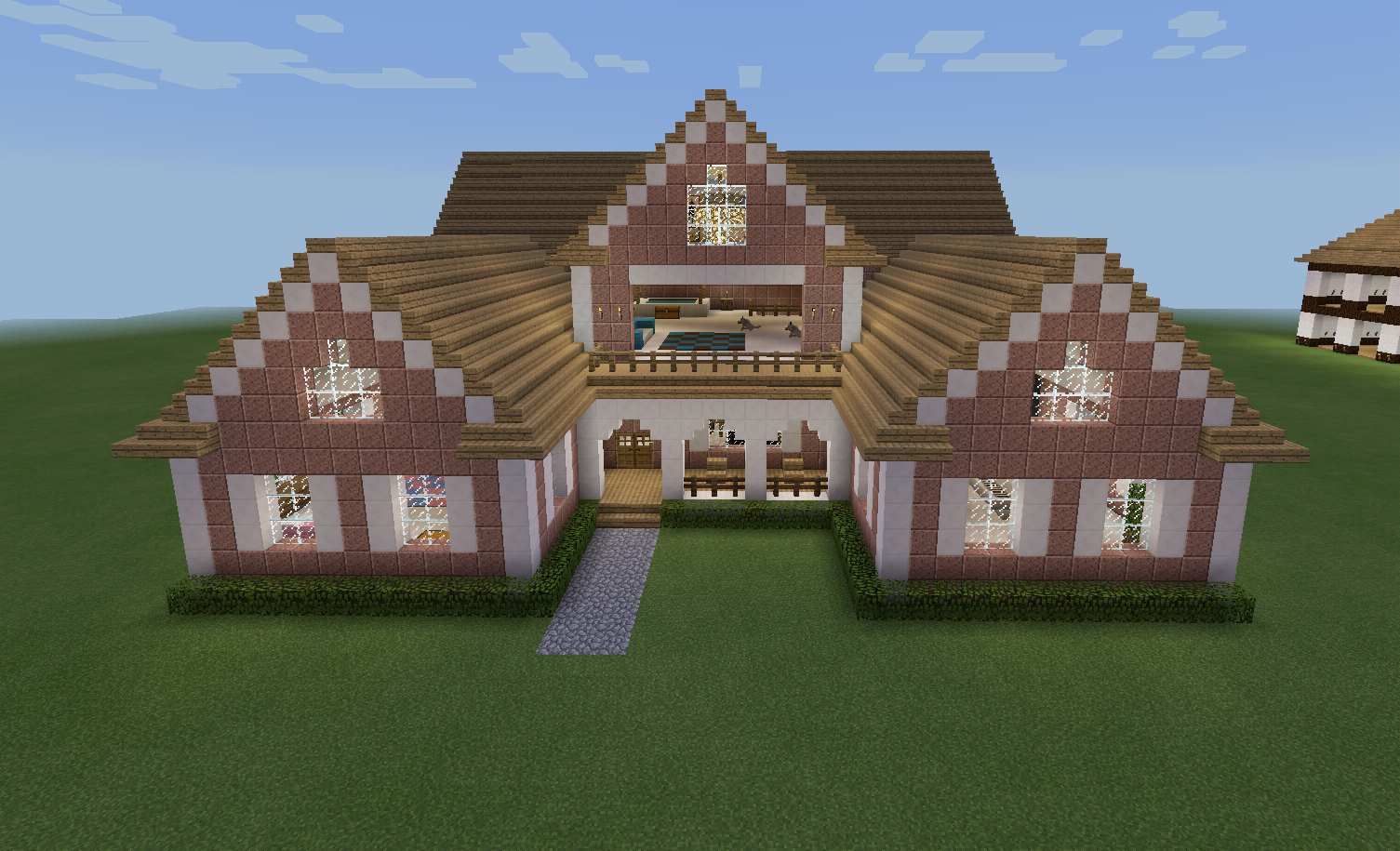 Minecraft Pink Realistic Country House Porch Minecraft Farm Minecraft House Designs Minecraft Farm House