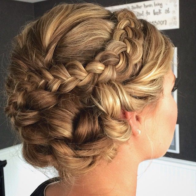 Side Braid Hairstyles For Weddings: Soft Braided Updo With Braid And Side Swept Bun