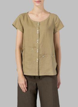 Linen Cap Sleeve Blouse