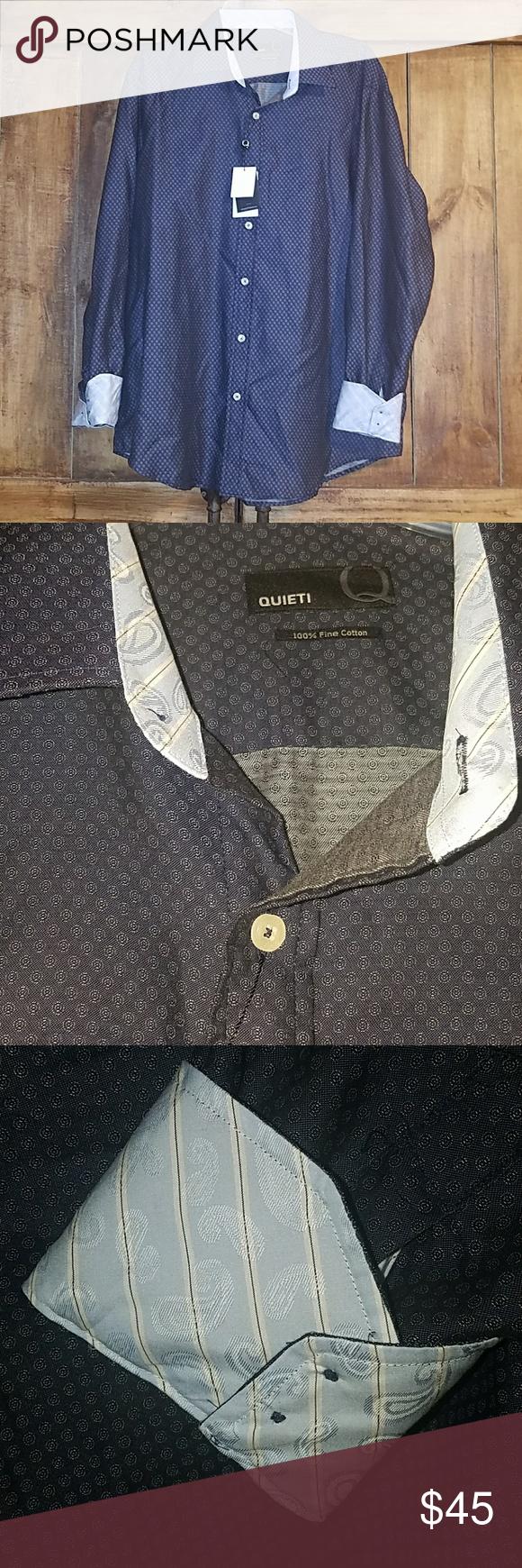 Quieti mens xl long sleeve dress shirt nwt dress shirts sleeved