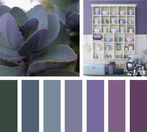 Una paleta de colores fresca y suave compuesta por colores verdes y morados inspirados de la - Gama de colores morados ...