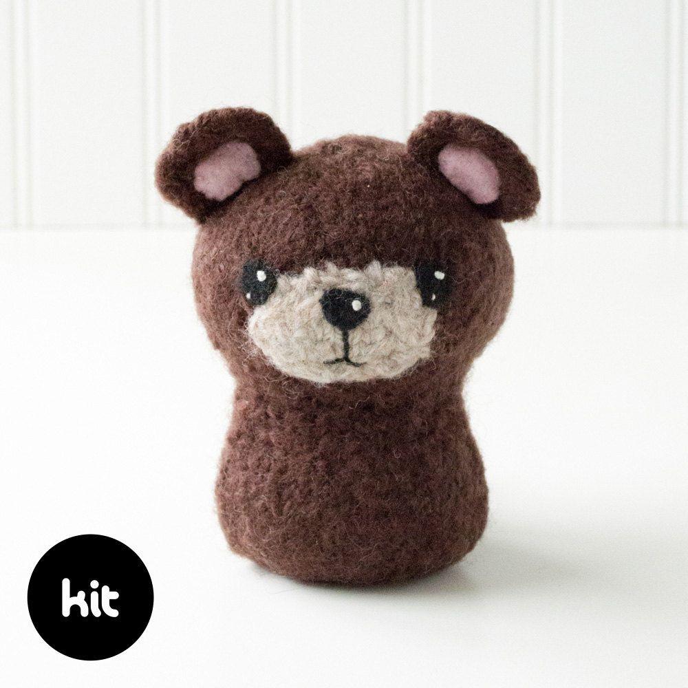 Bear Felted Knitting Kit - Woodland Animal - Forest Animal ...