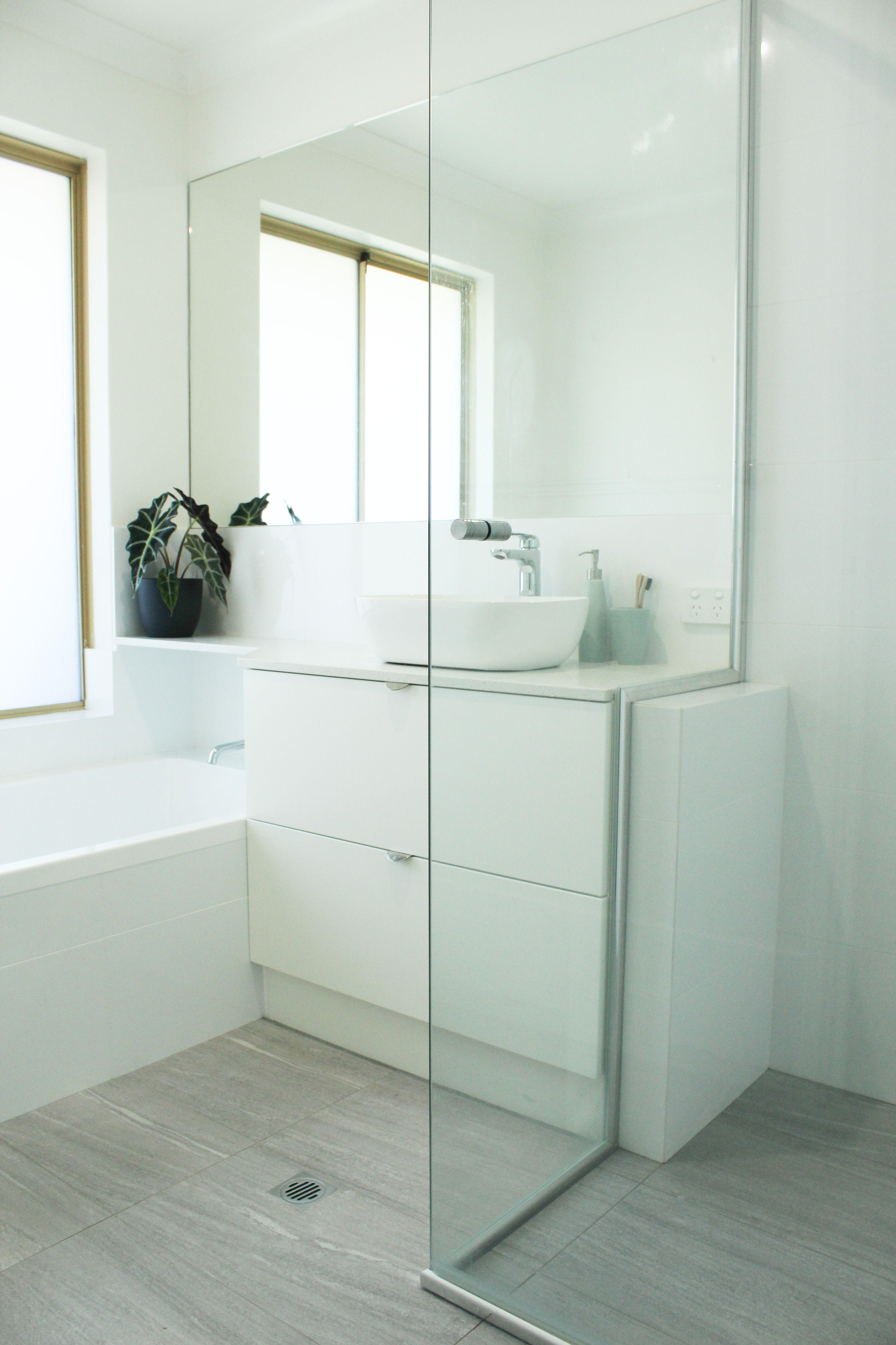 Family Bathroom Renovation White and Grey Bathroom On the ...