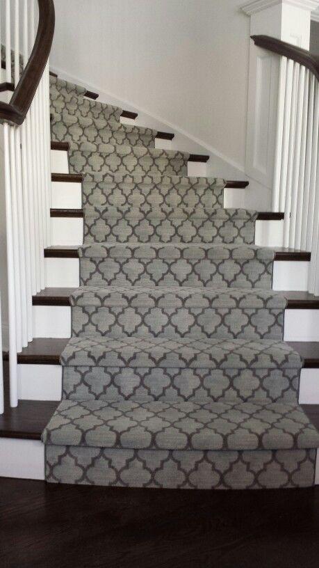 Custom Stair Runner With Modern Style And Pattern Milliken X | Custom Carpet Runners For Stairs | Wood | Carpet Workroom | Charlotte Nc | Area Rugs | Hallway Carpet