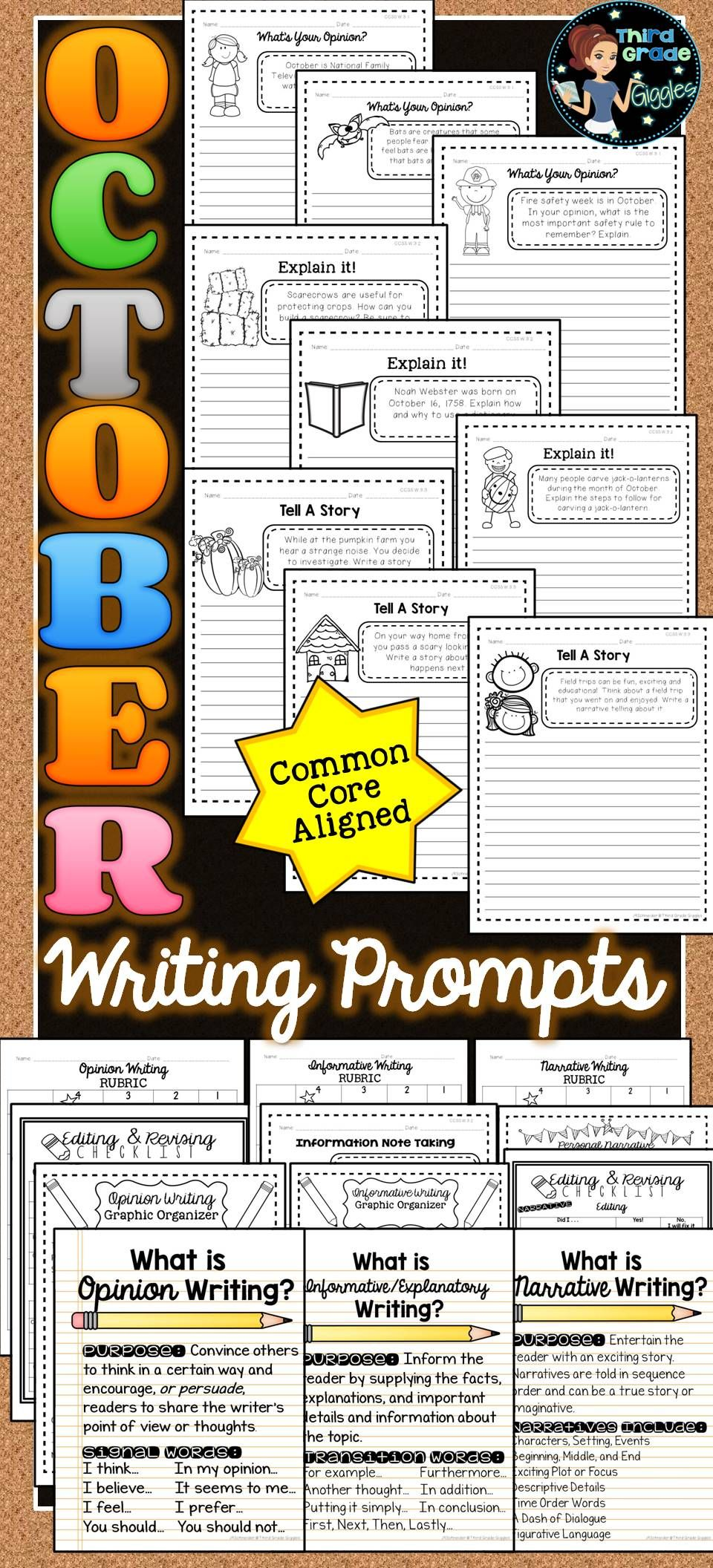 October Writing Prompts Activities (With images) October